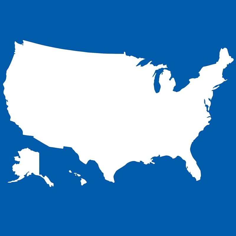 white outline of USA